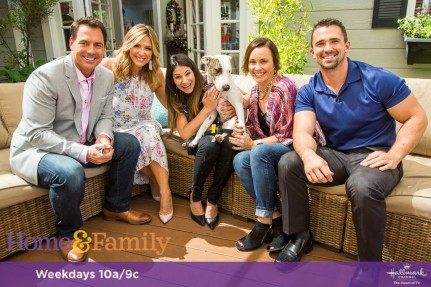 """Mark Steines and Debbie Matenopoulos welcome actress Holly Robinson-Peete and she gives us a preview of Hallmark Movies & Mysteries' """"The Most Wonderful Miracles of Christmas"""" movie lineup. Actor Michael Luwoye from """"Hamilton"""" joins us. Chef Casey Thompson cooks hush puppies with dungeness crab. Confectioner Valerie Gordon is making a butter cake with milk chocolate frosting. Activist and labor leader Dolores Huerta shares her incredible story. Pet rescue expert Larissa Wohl is here with professional dog trainers Nate Schoemer and Laura London from Animal Planet's """"Rescue Dog to Super Dog."""" Ken Wingard shows us DIY top hat lights. Maria Provenzano creates vanity jars. Lawrence Zarian gives a makeover to a very deserving woman. Credit: © 2017 Crown Media United States, LLC 